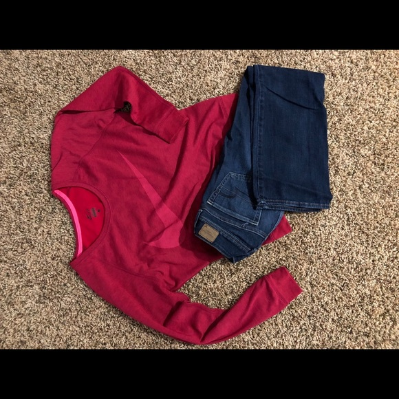 American eagle jeans & Nike sweatshirt